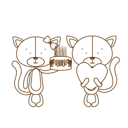 silhouette of cats with with cake in hand on white background vector illustration design 일러스트