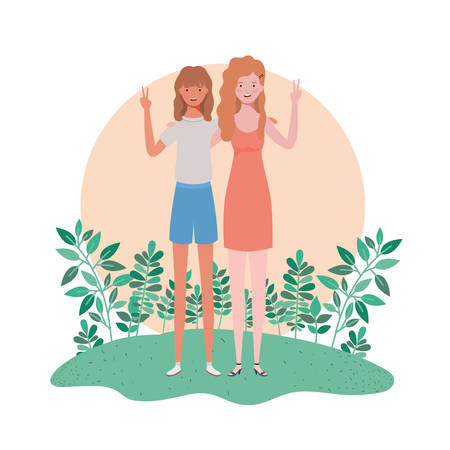young women standing with landscape background vector illustration design Archivio Fotografico - 129422648