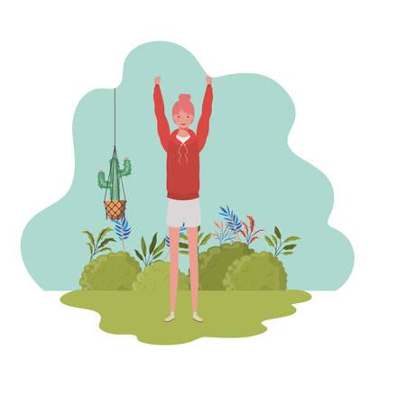 woman with macrame hangers and background landscape vector illustration design Ilustração
