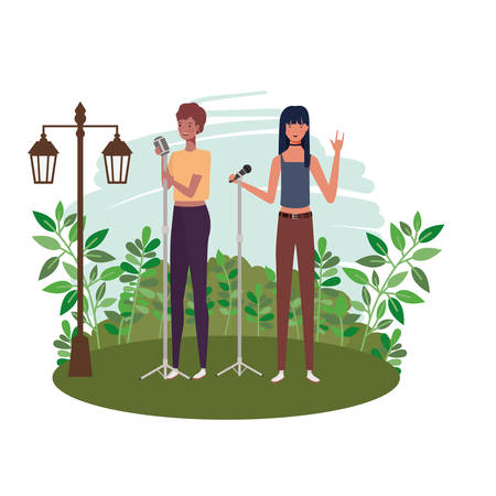 women standing with microphones and background landscape vector illustration design Stock Illustratie