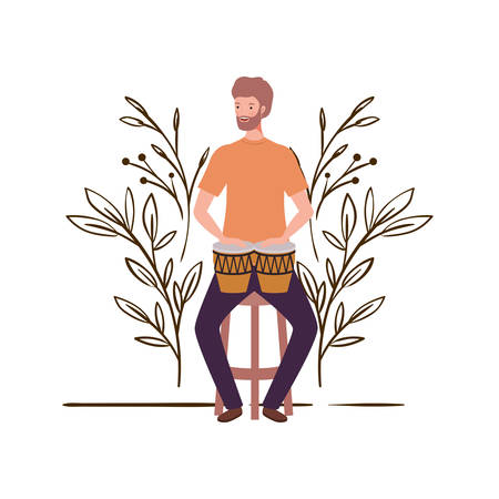 man with congas and branches and leaves in the background vector illustration design Foto de archivo - 129424117