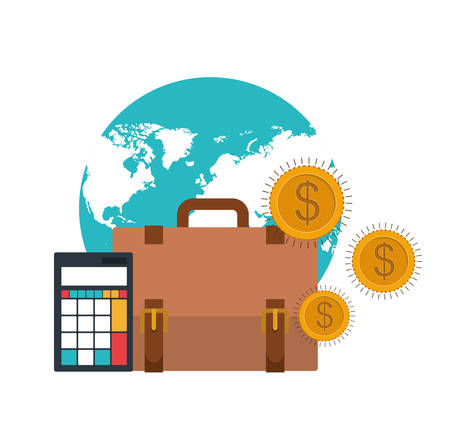 set of icons with suitcase of businessman in white background vector illustration design Фото со стока - 129409800