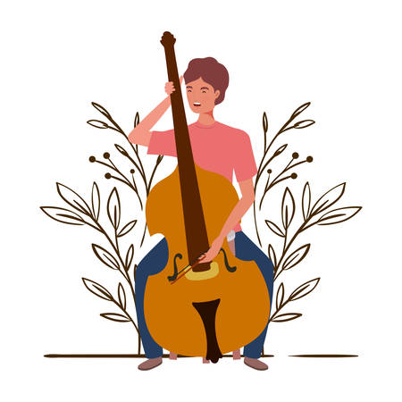 man with fiddle and branches and leaves in the background vector illustration design Stock Illustratie