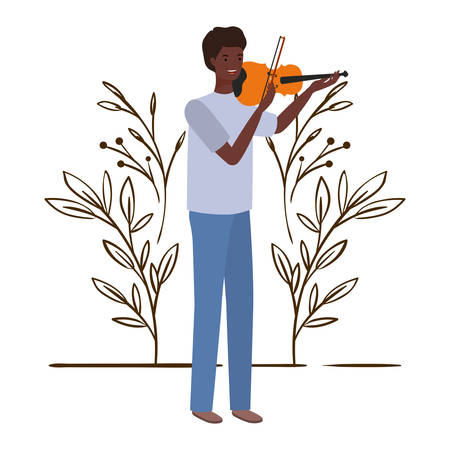 man with fiddle and branches and leaves in the background vector illustration design Banco de Imagens - 129424259
