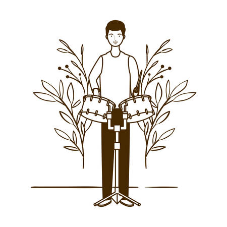 silhouette of man with timpani and branches and leaves in the background vector illustration design Banco de Imagens - 129424267