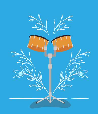 timpani drums instrument musical icon vector illustration design
