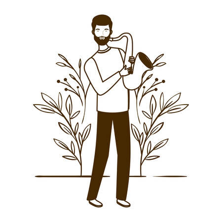 silhouette of man with saxophone and branches and leaves in the background vector illustration design Banco de Imagens - 129424282
