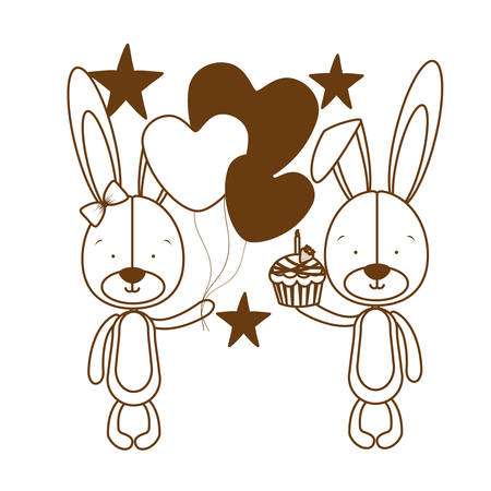 silhouette of cute bunny with helium balloons vector illustration design 일러스트