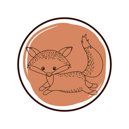 cute and adorable fox with circular frame vector illustration design