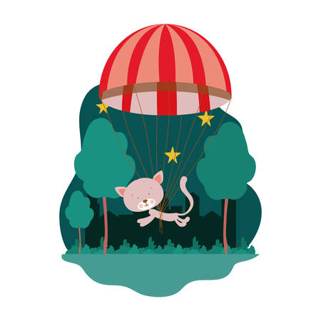 cute cat with parachute in vector illustration design 일러스트
