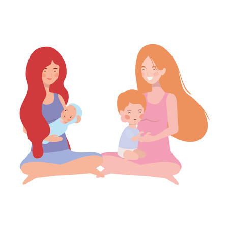 cute pregnancy mothers seated lifting little babies characters vector illustration design Stock Illustratie