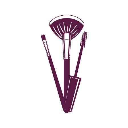 set of applicators and eyelashes make up brushes accessories vector illustration design