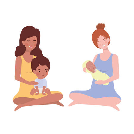 interracial pregnancy mothers seated lifting little babies characters vector illustration