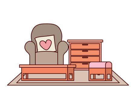 livingroom house with sofa and love pillows vector illustration design Banco de Imagens - 129419988