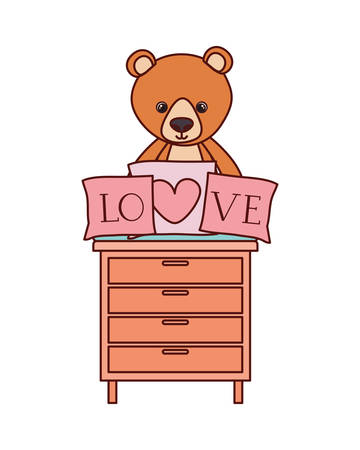 cute bear teddy stuffed with love pillows in drawer vector illustration design Иллюстрация