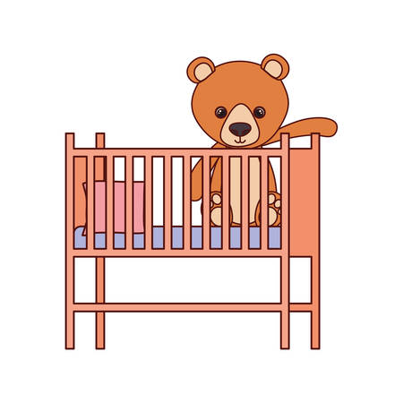cute bear teddy stuffed in baby cradle vector illustration design Ilustração