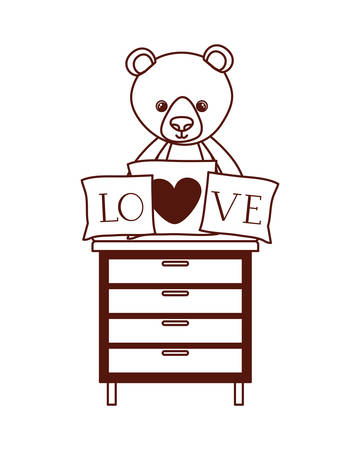 cute bear teddy stuffed with love pillows in drawer vector illustration design Фото со стока - 129421991