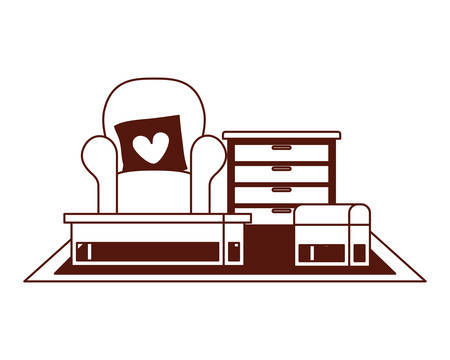 livingroom house with sofa and love pillows vector illustration design