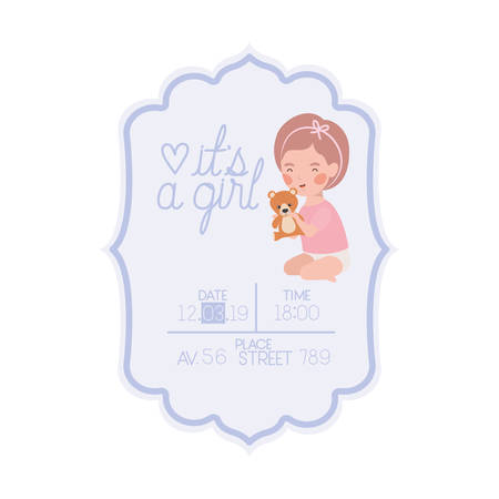 its a girl card with little baby and bear teddy character vector illustration design Ilustração