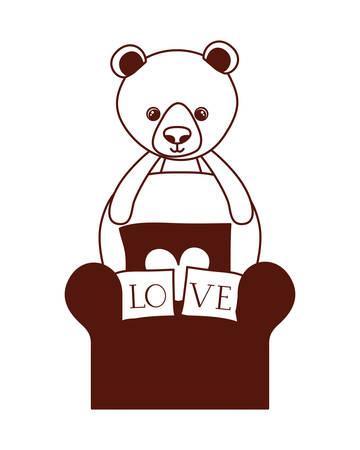 cute bear teddy stuffed with love pillows in the sofa vector illustration design