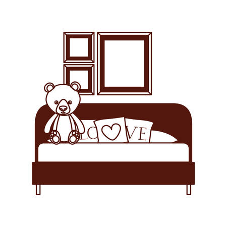 cute bear teddy stuffed with love pillows in the sofa vector illustration design Фото со стока - 129424233
