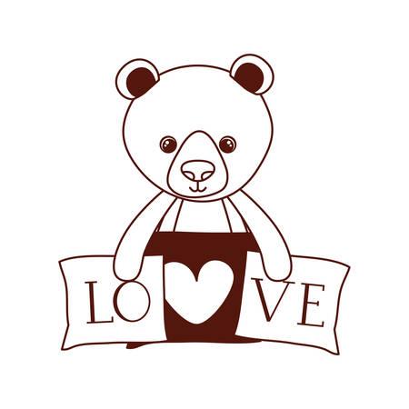 cute bear teddy stuffed with love pillows vector illustration design Иллюстрация