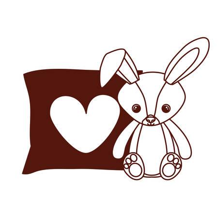cute rabbit of stuffed with heart love pillows vector illustration design
