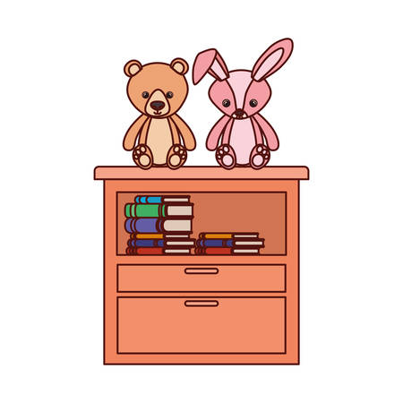 cute bear and rabbit stuffed baby toys in shelving vector illustration design Фото со стока - 129429317