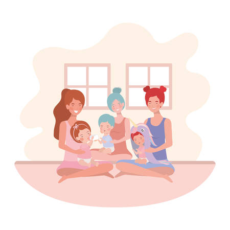 cute pregnancy mothers seated lifting babies in the room vector illustration design
