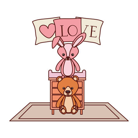 cute bear and rabbit stuffed baby toys in drawer vector illustration design