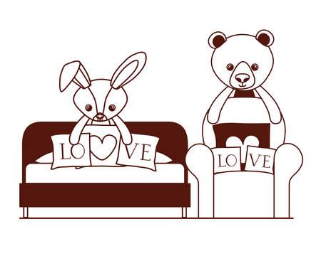 cute bear and rabbit stuffed baby toys in livingroom vector illustration design