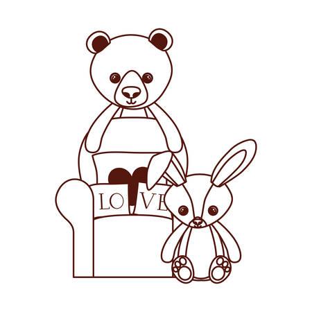 cute bear and rabbit stuffed baby toys in livingroom vector illustration design Фото со стока - 129463367