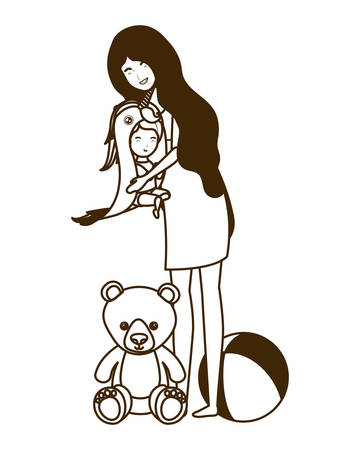 cute pregnancy mother with little boy characters vector illustration design Archivio Fotografico - 129463369