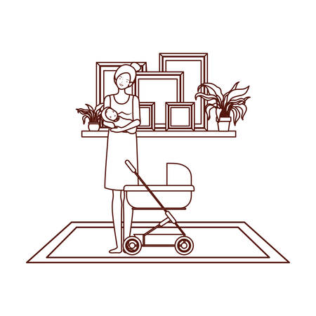 cute pregnancy mother with little baby in cart vector illustration design Archivio Fotografico - 129463399