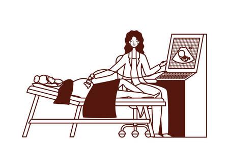 pregnancy woman in stretcher getting ultrasound vector illustration design Illusztráció