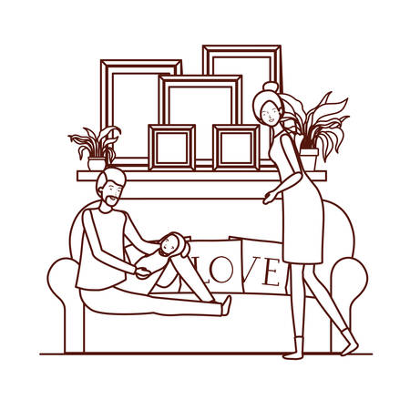 parents couple with little baby in livingroom characters vector illustration design Archivio Fotografico - 129436864