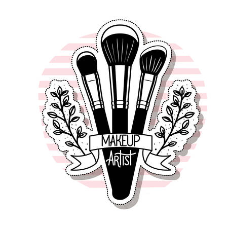 makeup brushes on white background vector illustration design  イラスト・ベクター素材