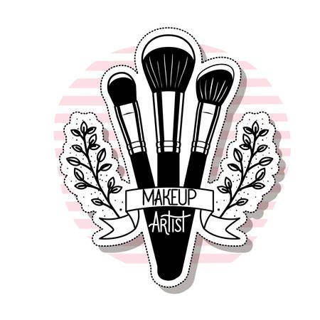 pinceaux de maquillage sur fond blanc vector illustration design