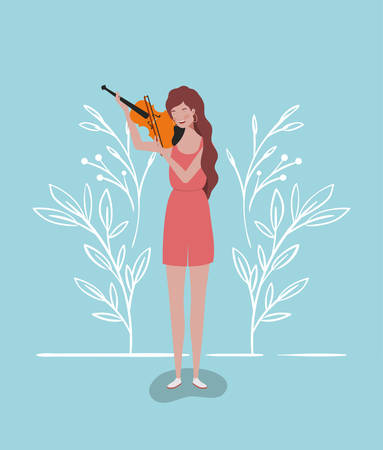 woman playing fiddle instrument character vector illustration design Иллюстрация