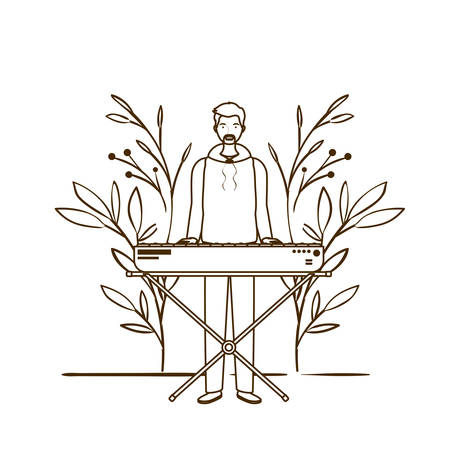 silhouette of man with piano keyboard and branches and leaves in the background vector illustration design Иллюстрация
