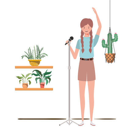 woman with microphone with stand and houseplants on macrame hangers of background vector illustration design