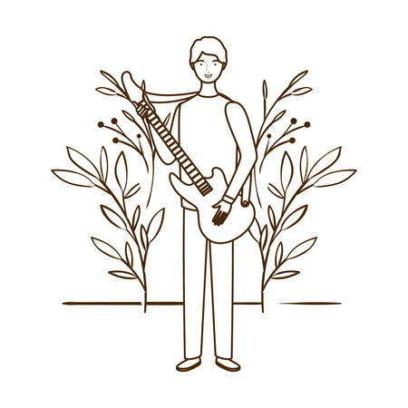 silhouette of man with electric guitar and branches and leaves in the background vector illustration design Иллюстрация