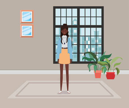 young and beautiful afro girl character in the house vector illustration design