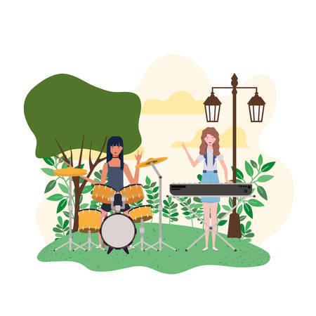 women with musical instruments and background landscape vector illustration design Illustration