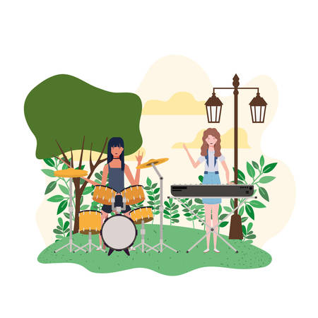 women with musical instruments and background landscape vector illustration design Иллюстрация
