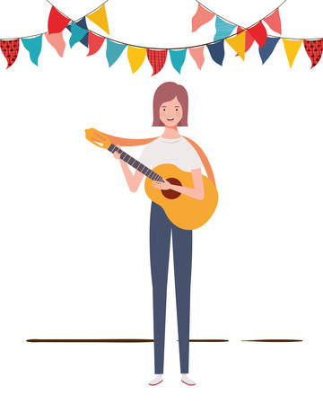 women with acoustic guitar on white background vector illustration design