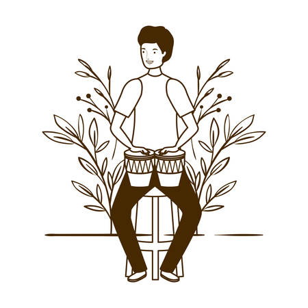 silhouette of man with congas and branches and leaves in the background vector illustration design Foto de archivo - 129460491