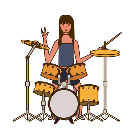 young woman with drum kit on white background vector illustration design Stock Vector - 129460822