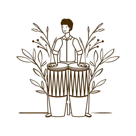 silhouette of man with congas and branches and leaves in the background vector illustration design Иллюстрация