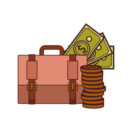 suitcase of businessman with money on white background vector illustration design